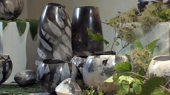 Gefäße mit Pflanzen