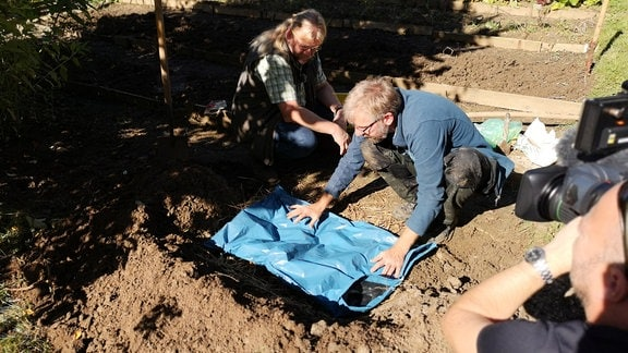 Jörg Heiß deckt mit blauer Folie die vergrabene Erdmiete ab.