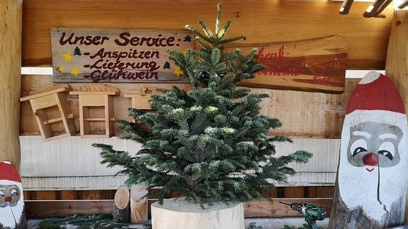 Auf einem Tisch steht ein kleiner Weihnachtsbaum in einem Baumständer.