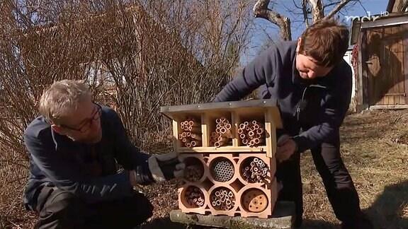 Zwei Menschen installieren ein Insektenhotel