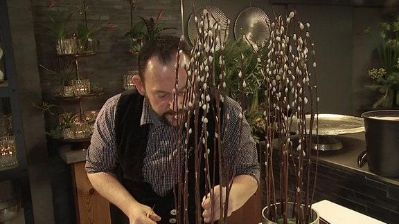 Ein Mann steckt Weidenkätzchen in ein Gefäß mit Sandboden.