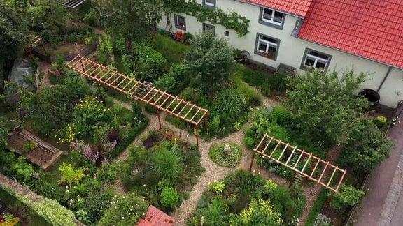 Garten aus der Vogelperspektive