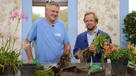 Uwe Schachschal und Moderator Jens Haentzschel stehen hinter einem Tisch und halten Knollen- und Zwiebelpflanzen in der Hand.