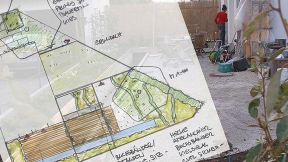 Gezeichneter Plan eines Gartens.