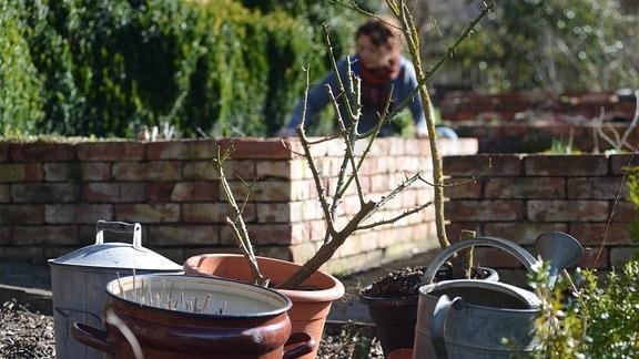 In einem Garten stehen viele Gießkannen und Eimer, im Hintergrund wird gearbeitet