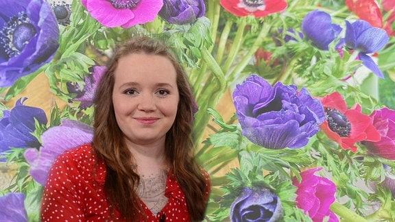 Stefanie Kösling, eine junge Frau vor vielen Blumen, wurde zur MDR Garten-Floristin 2019 gewählt. (Bildcollage)