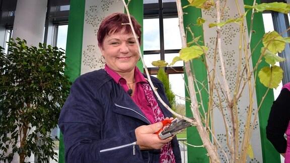 Monika Möhler steht vor einem Haselnussstrauch im Topf