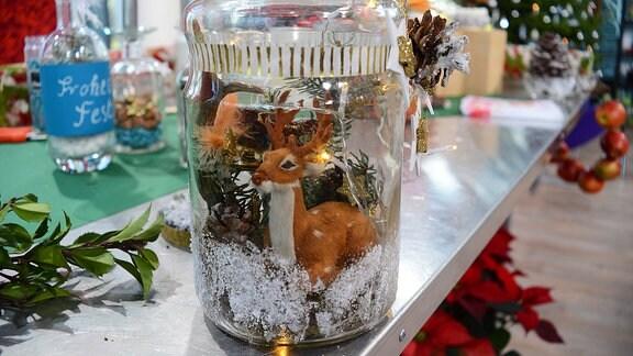 In einem großen Glas sitzt ein Elch zwischen weihnachtlicher Dekoration.