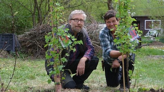 Hobbygärtner Jörg Heiss und Obstbaumexpertin Monika Möhler hocken hinter Sträuchern