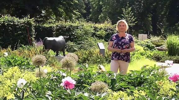 MDR Garten Moderatorin auf einer blühenden Wiese