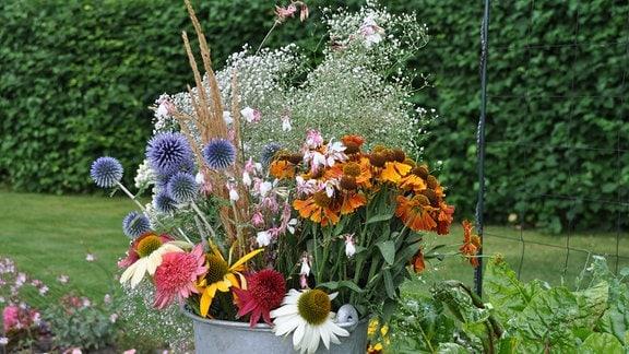 Verschiedene Gräser und Blumen stecken in einem großen Metalleimer im Freien.