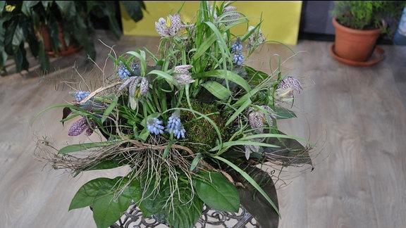 Strauß aus Fritillaria und Traubenhyazinthen