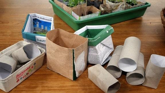 Diverse Pflanzgefäße aus Papier liegen auf einem Tisch.