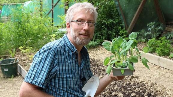 der Redakteur Jörg Heiß hält eine Schale mit Rosenkohl-Jungpflanzen in der Hand