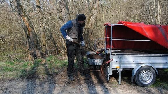 Mann schaufelt Kompost von Hänger auf Schubkarre