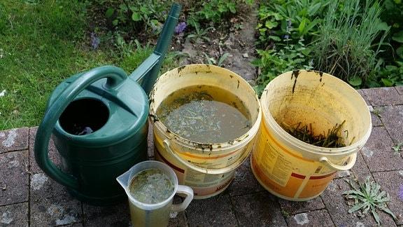 Jauche aus Pflanzenresten filtern und verdünnen