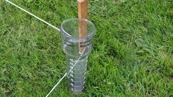 Ein Regenmesser steht auf einer Wiese.