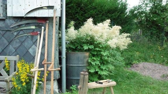 Verschiedene Sensen und ein Dengelbock stehen vor einer Gartenlaube