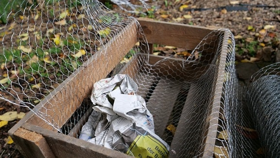 Knollen in Kiste einlagern und mit Hasendrahtgitter vor Mäusefraß schützen