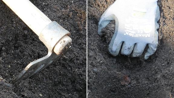 Collage: Mit einem Rechen wird ein Loch gegraben und eine Hand gräbt ein Loch.