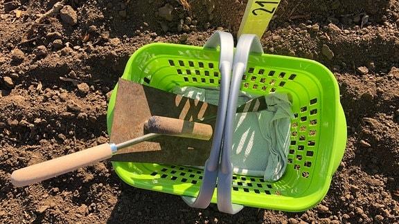 Maurerkelle und Spargelstecher liegen in einem grünen Plastekorb.