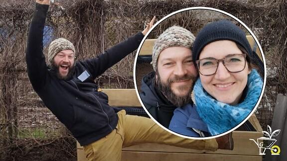 Bildcollage: Kleingärtner Frank Krause jubelt vor seinem fertigen Hochbeet. Selfie von Frank Krause und Nadine Witt.