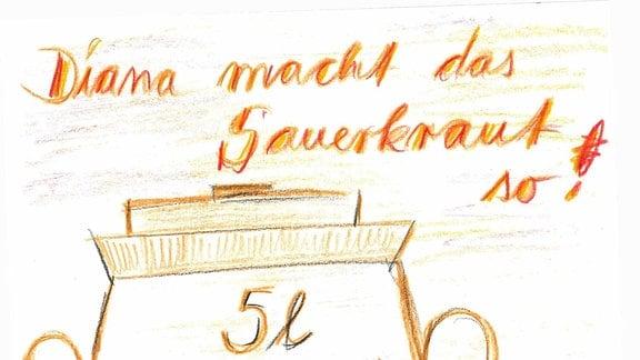 Ein gemaltes Bild eines Sauerkrauttopfes mit Rezept.