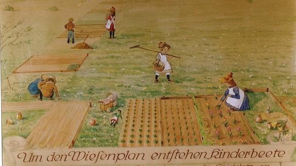 Historisches Aquarell von Curt Richter zeigt Anlage der Kinderbeete im ursprünglichen Schrebergarten.