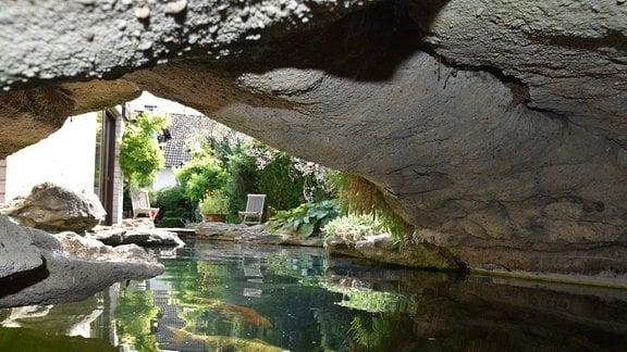 Blick unter einer Brücke hindurch über einen Teich mit Koikarpfen