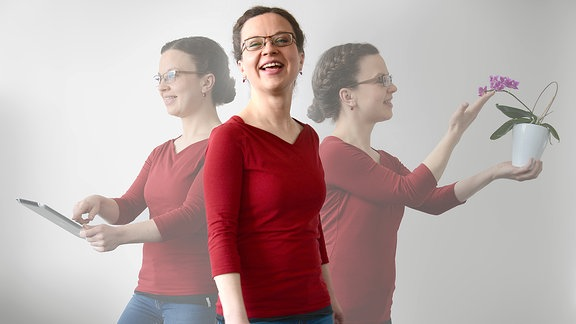 Redakteurin Teresa Herlitzius in drei verschiedenen Aktionen.