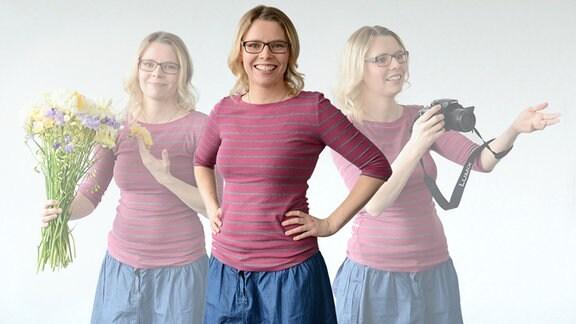 Die junge Redakteurin Ulrike Kaliner ist in drei verschiedenen Situationen in einem Bild zu sehen.
