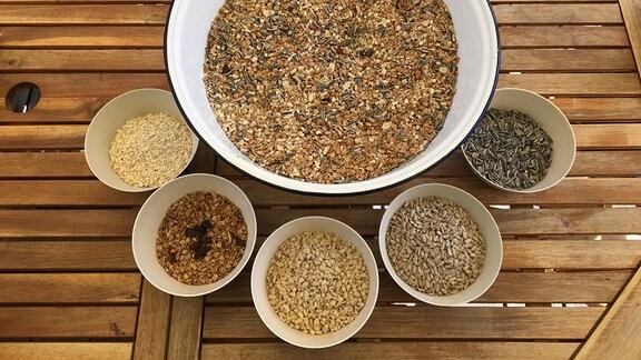 Vogelfutter: verschiedene Nüsse und Samen in Schülleln auf einem Tisch