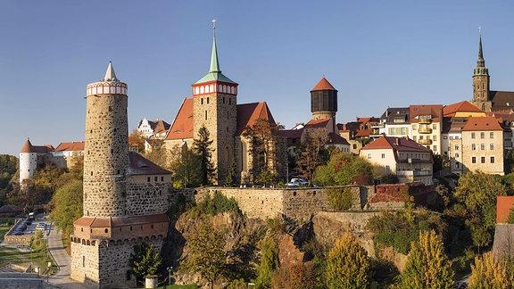 Skyline von Bautzen mit alter Wasserkunst, Michaeliskirche, Petridom und Rathausturm