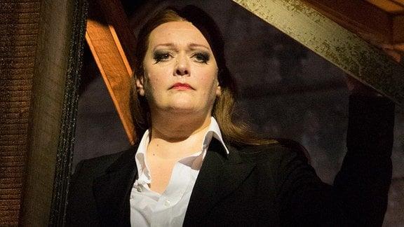 Catherine Foster bei einer Probe. Die Walküre, Probenfoto von 2016, Catherine Foster (Brünnhilde). Die Wagner-Oper wird bei den Bayreuther Festspielen 2016 in Bayreuth (Bayern) erstmals am 27.07.2016 aufgeführt.