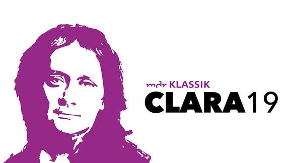 """Schriftzug """"MDR KLASSIK CLARA19"""" mit Schwellemnwert-Silhouette eines Porträts von Clara Schumann im Alter von ca. 60 Jahren in violett, dazu vereinfachte Unterschrift von Clara Schumann"""