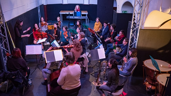 Blick auf das Freie Orchester Leipzig