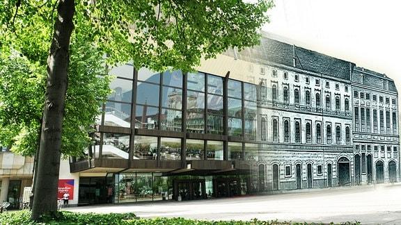 Das Bild zeigt eine Fotomontage des derzeitigen Gewandhaus am Leipziger Augustusplatz mit dem ersten Gewandhaus, das sich allerdings nicht am Augustusplatz befand.