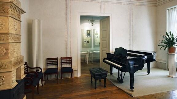 Arbeitszimmer von Robert und Clara Schumann im Schumann-Haus an der Leipziger Notenspur in Leipzig