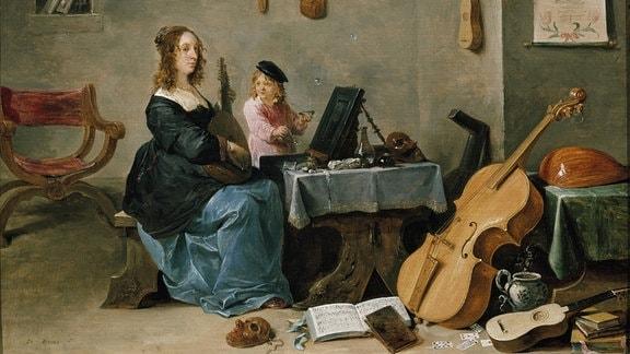 Gemälde aus dem 17. Jahrhundert zeigt musizierende Frau und Kind