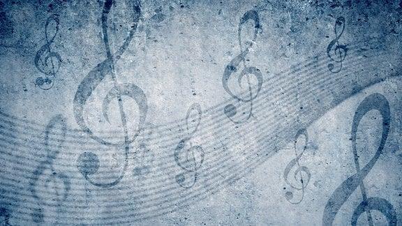 Geschwungene Notenzeilen mit Violinschlüssel