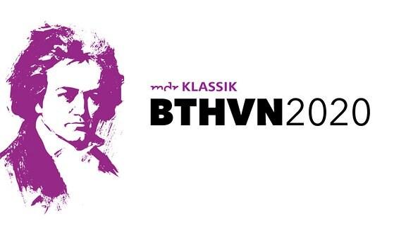 """Stilisiertes Schwellenwertbild von eines Beethoven-Porträts und Schriftzug """"MDR KLASSIK BTHVN 2020"""""""