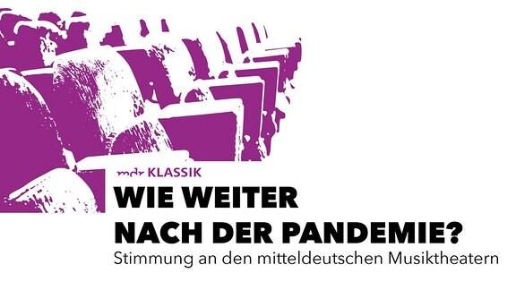 """Schwellenwertbild leerer Reihensitze für Publikum, Text: """"Wie weiter nach der Pandemie? – Stimmung an den mitteldeutschen Musiktheatern"""""""