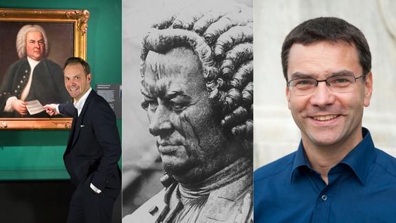Collage: links Mann in Anzug vor Bachgemälde, mitte Bachdenkmal, rechts Porträt Mann in blauem Hemd mit Brille