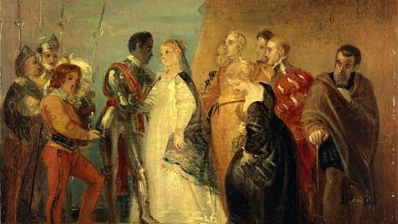 Die Rückkehr von Othello, von Othello, Akt II, Szene ii von Thomas Stothard als Gemälde