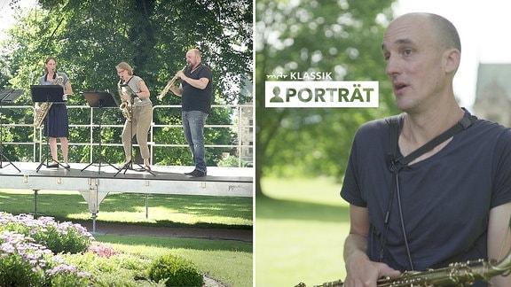 Zwei Fotos: Links Freilichtbühne in Park mit zwei Musikerinnen und einem Musiker, die alle auf unterschiedlichen Saxofonen spielen. Rechts Porträt Mann mit umgehämngtem Saxofon, sehr kurzen Haaren, T-Shirt; Hintergrund unscharf grüner Park.