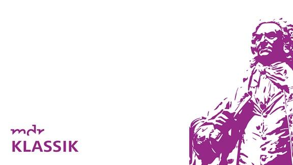 """Schwellenwert-Bild einer Bach-Statue, Text """"Bach-Kantate"""" und MDR KLASSIK-Logo"""