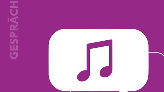 """Zwei stilisierte Sprechblasen übereinander, darin eine Note, Text """"Gespräch"""" und MDR KLASSIK-Logo"""