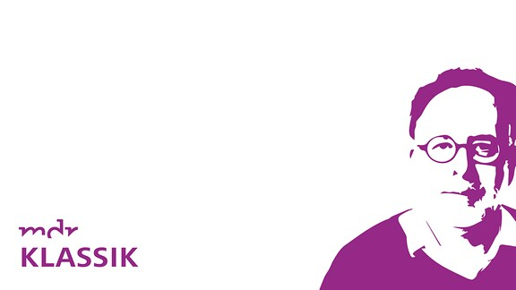 """Schwellenwert-Grafik von Mann mit runder Brille, Text """"Empfehlungen"""" und MDR KLASSIK-Logo"""