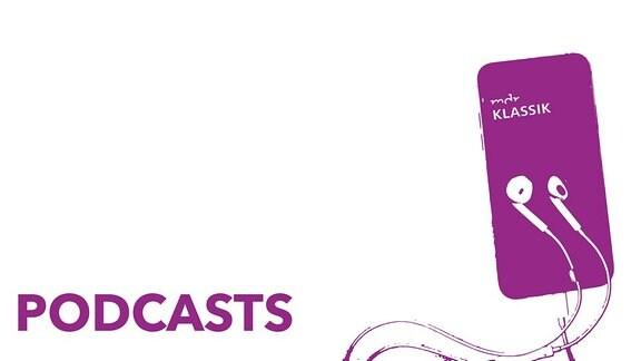 """Schwellenwertbild eines Smartphones mit MDR KLASSIK-Logo und angeschlossenen Ohrhörern, die darüber liegen, Schriftzug """"Podcasts"""""""