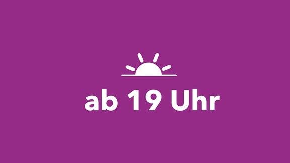 """MDR KLASSIK Relaunch Hintergrund-Illustration Piktogramm Sonnenuntergang und Beschriftung """"ab 19 Uhr"""""""